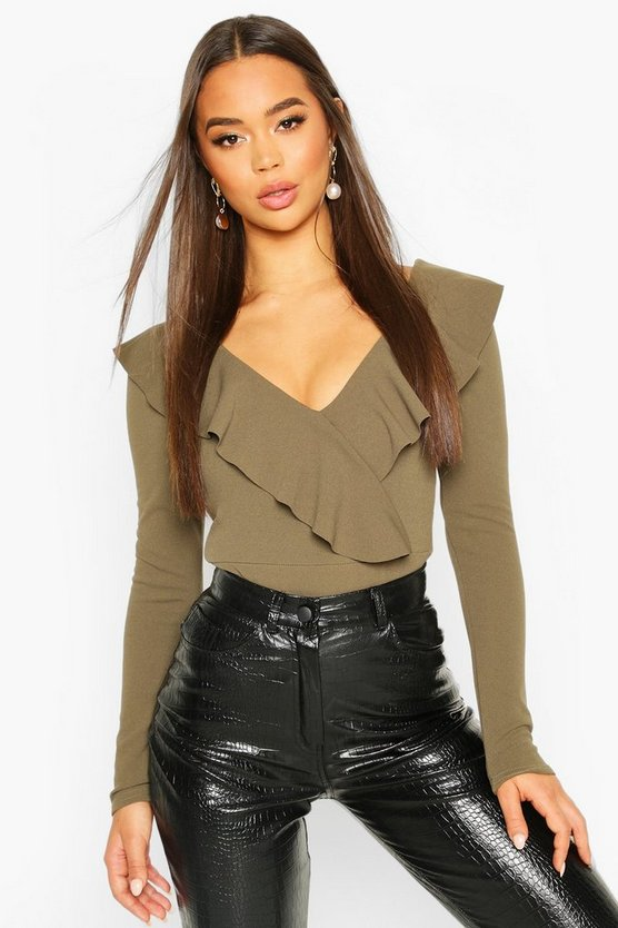 Womens Khaki Ruffle Long Sleeved Bodysuit
