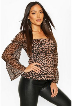 Tan Leopard Mesh Sleeve Neck Peplum Top