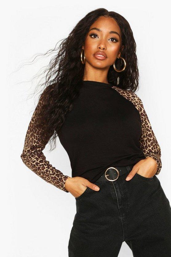 Leopard Print Raglan Long Sleeve T-Shirt