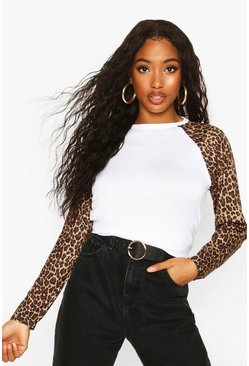 Womens White Leopard Print Raglan Long Sleeve T-Shirt