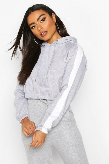 Grey Side Stripe Cropped Hoodie