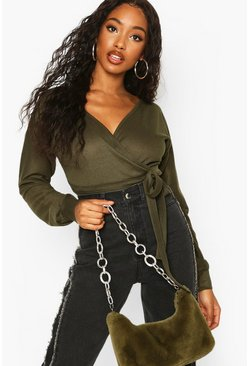 Womens Khaki Ribbed Wrap Tie Waist Bodysuit
