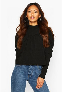 Black High Neck Puff Sleeve Smock Top