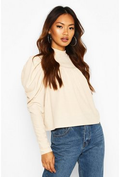 Stone High Neck Puff Sleeve Smock Top