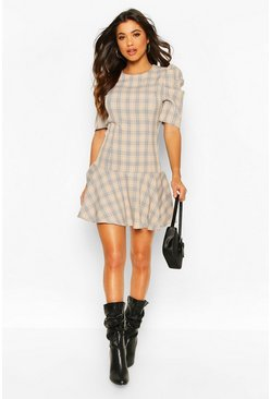 Womens Stone Puff Sleeve Check Drop Hem Dress