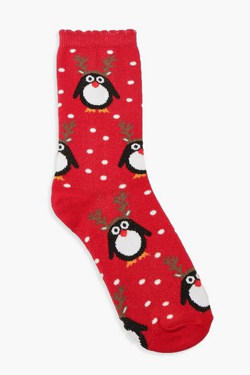 Womens Red Christmas Penguin Socks