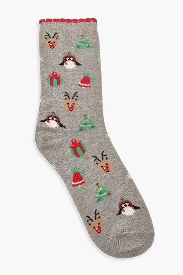 Womens Grey Christmas Tree & Reindeer Socks