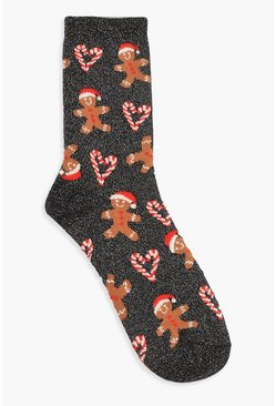Dam Navy Christmas Glitter Gingerbread Socks