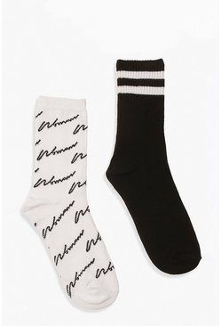 2 Pack Woman Script & Stripe Socks, Black