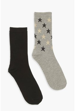 2 Pack Glitter Star Sock, Black