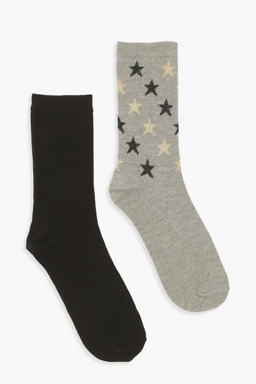 Womens Black 2 Pack Glitter Star Sock