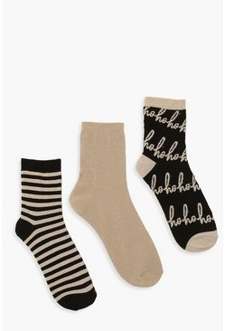 Dam Gold 3 Pack Xmas Ho Ho Ho Sock