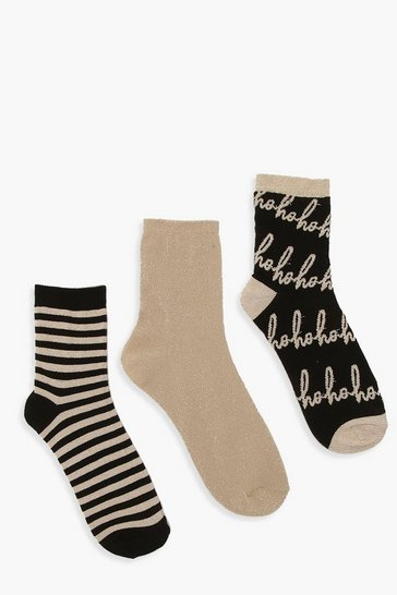 Womens Gold 3 Pack Xmas Ho Ho Ho Sock