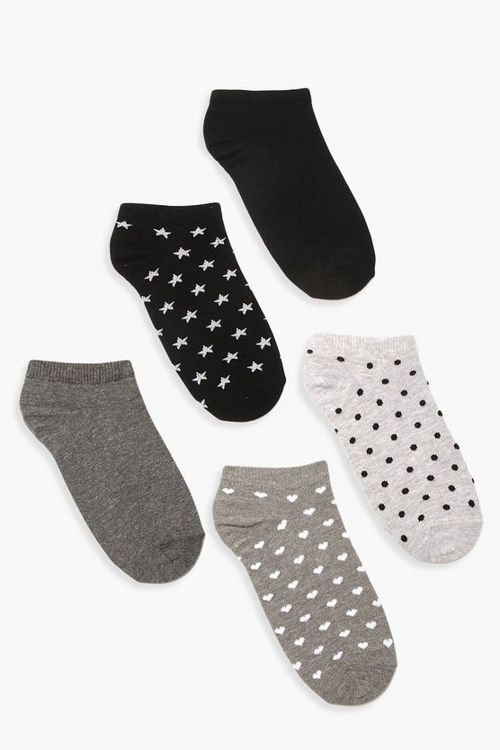 Womens Grey 5 Pack Trainer Sock