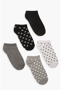 Dam Grey 5 Pack Trainer Sock