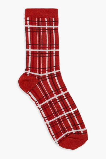 Womens Red Glitter Xmas Tartan Sock