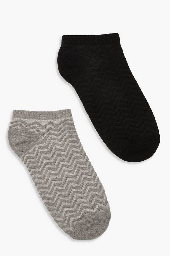 Womens Black 2 Pack Chevron Jacquard Ankle Socks