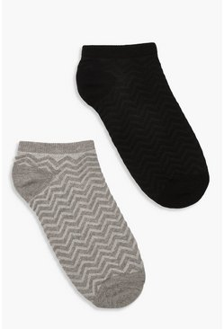 Dam Black 2 Pack Chevron Jacquard Ankle Socks