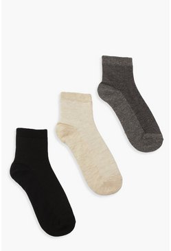 Black 3 Pack Plain Ribbed Socks