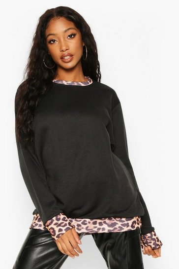 Womens Black Leopard Ringer Sweat