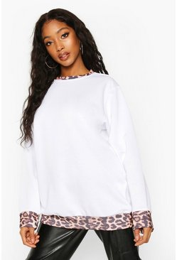 Womens White Leopard Ringer Sweat