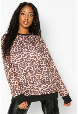 Womens Natural Leopard All Over Print Ringer Sweat