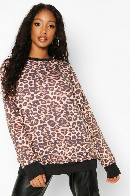 Leopard All Over Print Ringer Sweat