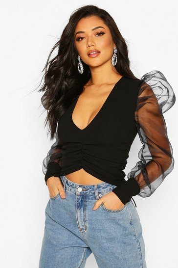 Black Organza Puff Sleeve Ruched Side Top