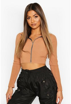 Womens Camel High Neck Zip Front Crop Top