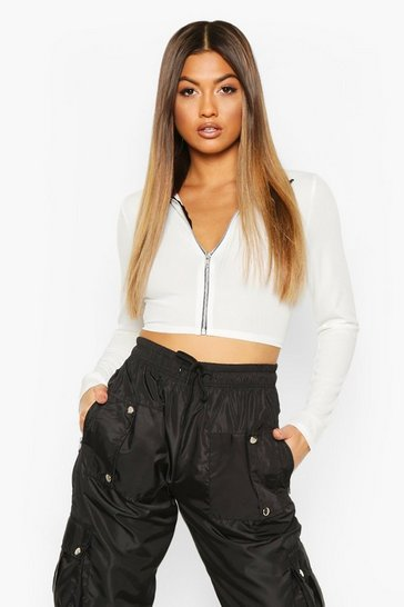 Womens Ecru High Neck Lip Front Crop Top