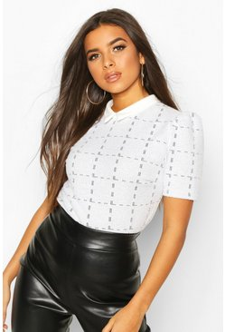 Boucle Checked Collar Puff Sleeve Top, White