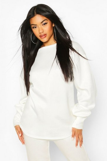 Ivory Oversized Slogan Puff Sleeve Sweat