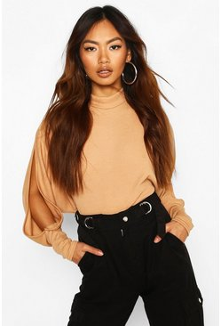 Oversized Rib High Neck Cold Shoulder Top, Camel