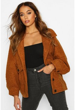 Camel Teddy Faux Fur Trucker