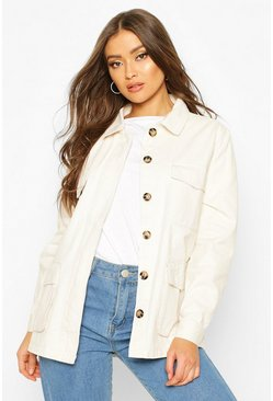 Womens Beige Double Pocket Utility Jacket