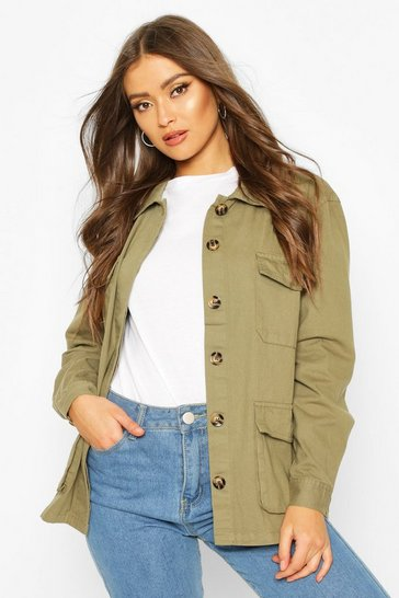 Khaki Double Pocket Utility Jacket