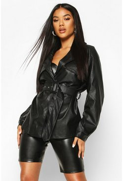 Belted Faux Leather Trench Coat, Black