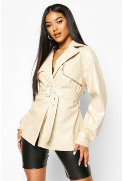 Womens Cream Belted Faux Leather Trench Coat