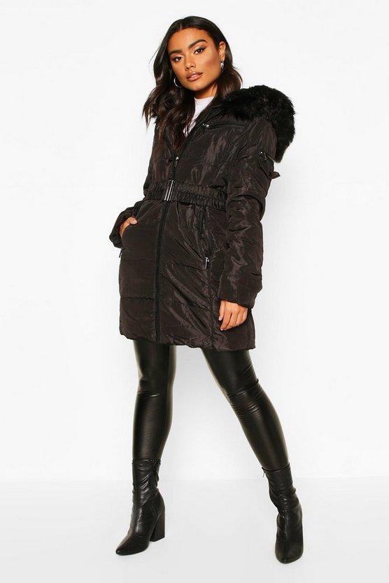 Belted Faux Fur Trim Parka