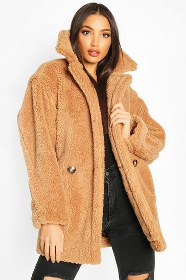 Camel Oversized Double Breasted Teddy Faux Fur Coat