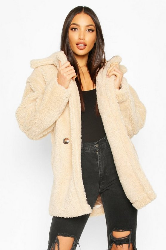 Cream Oversized Double Breasted Teddy Faux Fur Coat