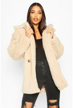 Womens Cream Oversized Double Breasted Teddy Faux Fur Coat