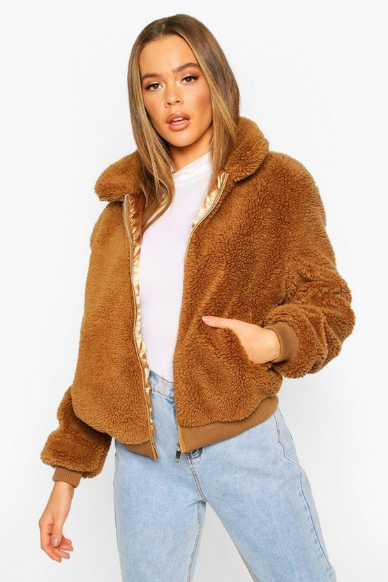 Camel Teddy Faux Fur Bomber Jacket