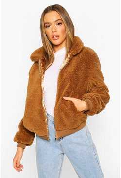 Teddy Faux Fur Bomber Jacket, Camel