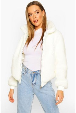 Teddy Faux Fur Bomber Jacket, Cream