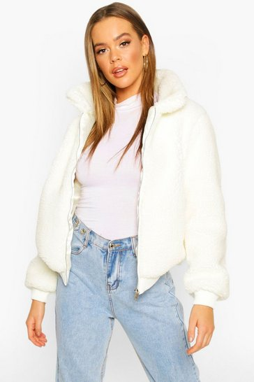 Cream Teddy Faux Fur Bomber Jacket