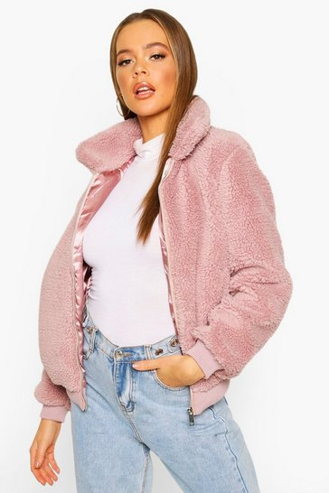 Lilac Teddy Faux Fur Bomber Jacket