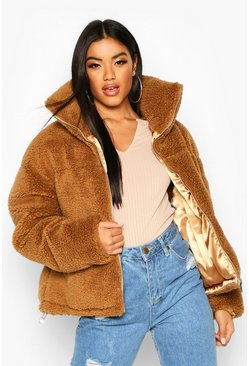 Teddy Faux Fur Puffer Jacket, Camel