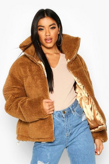 Camel Teddy Faux Fur Puffer Jacket