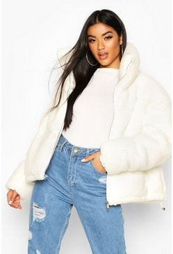 Teddy Faux Fur Puffer Jacket, Cream
